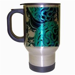 Teal Sea Forest, Abstract Underwater Ocean Travel Mug (Silver Gray)
