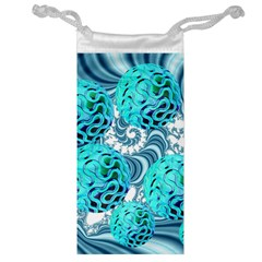 Teal Sea Forest, Abstract Underwater Ocean Jewelry Bag
