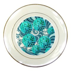 Teal Sea Forest, Abstract Underwater Ocean Porcelain Display Plate