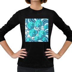 Teal Sea Forest, Abstract Underwater Ocean Women s Long Sleeve T Shirt (dark Colored)
