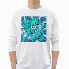 Teal Sea Forest, Abstract Underwater Ocean Men s Long Sleeve T-shirt (White)