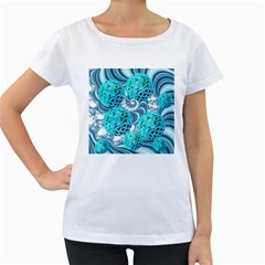 Teal Sea Forest, Abstract Underwater Ocean Women s Loose Fit T Shirt (white)