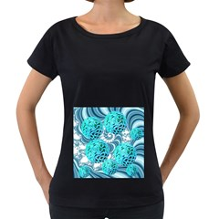 Teal Sea Forest, Abstract Underwater Ocean Women s Loose-Fit T-Shirt (Black)