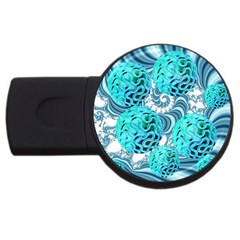 Teal Sea Forest, Abstract Underwater Ocean 4GB USB Flash Drive (Round)