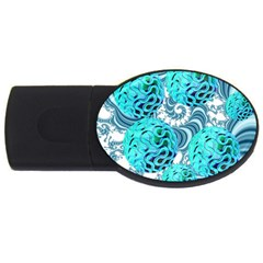 Teal Sea Forest, Abstract Underwater Ocean 4GB USB Flash Drive (Oval)