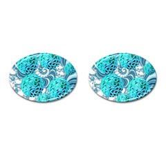 Teal Sea Forest, Abstract Underwater Ocean Cufflinks (Oval)
