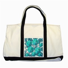 Teal Sea Forest, Abstract Underwater Ocean Two Toned Tote Bag