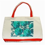 Teal Sea Forest, Abstract Underwater Ocean Classic Tote Bag (Red) Front