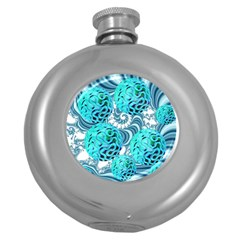 Teal Sea Forest, Abstract Underwater Ocean Hip Flask (round)