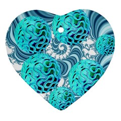 Teal Sea Forest, Abstract Underwater Ocean Heart Ornament (Two Sides)