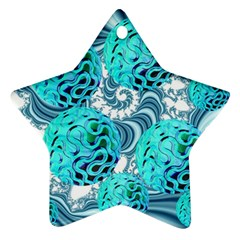 Teal Sea Forest, Abstract Underwater Ocean Star Ornament (Two Sides)