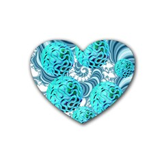 Teal Sea Forest, Abstract Underwater Ocean Drink Coasters (Heart)