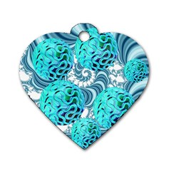 Teal Sea Forest, Abstract Underwater Ocean Dog Tag Heart (Two Sided)