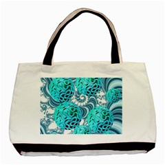 Teal Sea Forest, Abstract Underwater Ocean Twin-sided Black Tote Bag