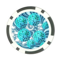 Teal Sea Forest, Abstract Underwater Ocean Poker Chip