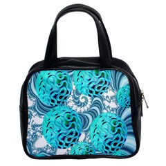 Teal Sea Forest, Abstract Underwater Ocean Classic Handbag (Two Sides)