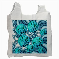 Teal Sea Forest, Abstract Underwater Ocean White Reusable Bag (One Side)