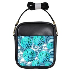 Teal Sea Forest, Abstract Underwater Ocean Girl s Sling Bag