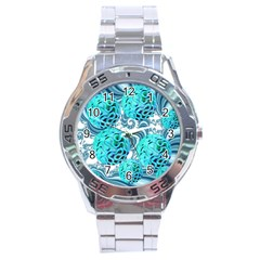 Teal Sea Forest, Abstract Underwater Ocean Stainless Steel Watch