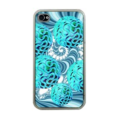 Teal Sea Forest, Abstract Underwater Ocean Apple Iphone 4 Case (clear)