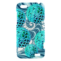 Teal Sea Forest, Abstract Underwater Ocean HTC One V Hardshell Case