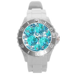 Teal Sea Forest, Abstract Underwater Ocean Plastic Sport Watch (Large)