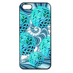 Teal Sea Forest, Abstract Underwater Ocean Apple iPhone 5 Seamless Case (Black)