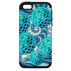 Teal Sea Forest, Abstract Underwater Ocean Apple iPhone 5 Hardshell Case (PC+Silicone)