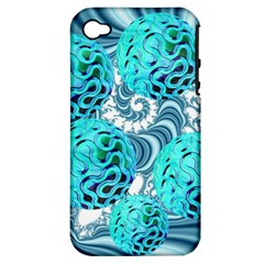 Teal Sea Forest, Abstract Underwater Ocean Apple Iphone 4/4s Hardshell Case (pc+silicone)