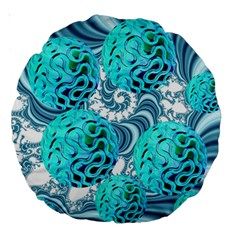 Teal Sea Forest, Abstract Underwater Ocean 18  Premium Round Cushion