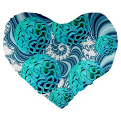 Teal Sea Forest, Abstract Underwater Ocean 19  Premium Heart Shape Cushion