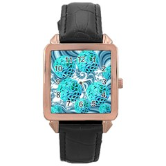 Teal Sea Forest, Abstract Underwater Ocean Rose Gold Leather Watch