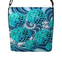 Teal Sea Forest, Abstract Underwater Ocean Flap Closure Messenger Bag (large)