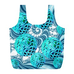 Teal Sea Forest, Abstract Underwater Ocean Reusable Bag (l)