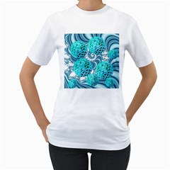 Teal Sea Forest, Abstract Underwater Ocean Women s T Shirt (white)