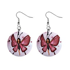 Butterfly Girl Mini Button Earrings