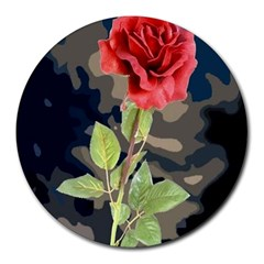 Long Stem Rose 8  Mouse Pad (Round)