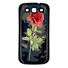 Long Stem Rose Samsung Galaxy S3 Back Case (Black)