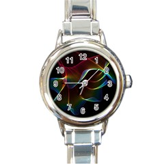 Imagine, Through The Abstract Rainbow Veil Round Italian Charm Watch