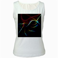 Imagine, Through The Abstract Rainbow Veil Women s Tank Top (White)