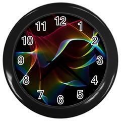 Imagine, Through The Abstract Rainbow Veil Wall Clock (black)