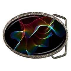 Imagine, Through The Abstract Rainbow Veil Belt Buckle (oval)