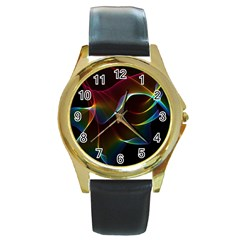 Imagine, Through The Abstract Rainbow Veil Round Leather Watch (Gold Rim)