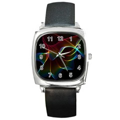 Imagine, Through The Abstract Rainbow Veil Square Leather Watch