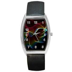 Imagine, Through The Abstract Rainbow Veil Tonneau Leather Watch