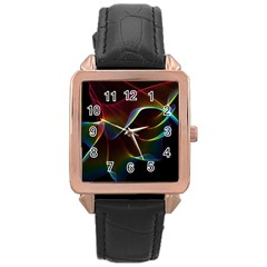 Imagine, Through The Abstract Rainbow Veil Rose Gold Leather Watch