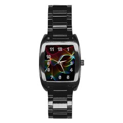 Imagine, Through The Abstract Rainbow Veil Stainless Steel Barrel Watch