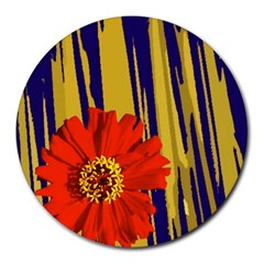 Red Flower 8  Mouse Pad (round)