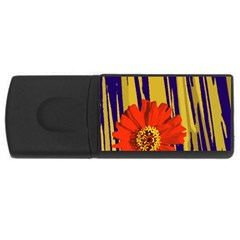 Red Flower 4gb Usb Flash Drive (rectangle)