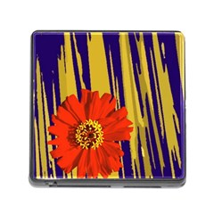 Red Flower Memory Card Reader With Storage (square)